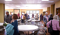 NWA Democrat-Gazette/BEN GOFF @NWABENGOFF<br /> Church members chat after adult sunday school class in the fellowship hall on Sunday Nov. 8, 2015 at the new building of Village Bible Evangelical Free Church in Bella Vista.