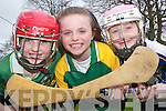 Comogie future: Evelyn O'Flynn (9), Anne Dillon (10) and Annmarie Swaine (9) who game ball for the Feale Gaels Camogie Club, the newly formed club for girls under 8 to under 14. The club are hosting their fun day on Saturday, April 12th to recruit more players at the Listowel Emmets GAA pitch from 2 to 4pm..   Copyright Kerry's Eye 2008