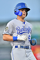 Burlington Royals Michael Massey (6) runs to third base during game one of the Appalachian League Championship Series against the Johnson City Cardinals at TVA Credit Union Ballpark on September 2, 2019 in Johnson City, Tennessee. The Royals defeated the Cardinals 9-2 to take the series lead 1-0. (Tony Farlow/Four Seam Images)