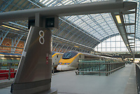 Eurostar boarding area in St Pancras station, London, England