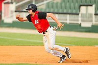 Mark Haddow (21) of the Kannapolis Intimidators takes off for second base against the Rome Braves at CMC-Northeast Stadium on August 5, 2012 in Kannapolis, North Carolina.  The Intimidators defeated the Braves 9-1.  (Brian Westerholt/Four Seam Images)