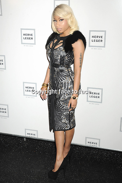 Nicki Minaj arrives backstage for the Herve Leger by Max Azria Spring 2014 Runway Show at the Mercedes-Benz New York Fashion Week.<br /> Credit: MediaPunch/face to face<br /> - Germany, Austria, Switzerland, Eastern Europe, Australia, UK, USA, Taiwan, Singapore, China, Malaysia, Thailand, Sweden, Estonia, Latvia and Lithuania rights only -