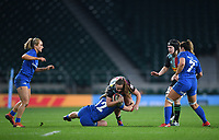 28th December 2019; Twickenham, London, England; Big Game 12 Womens Rugby, Harlequins versus Leinster; Michelle Claffey of Leinster tackles Ellie Green of Harlequins - Editorial Use