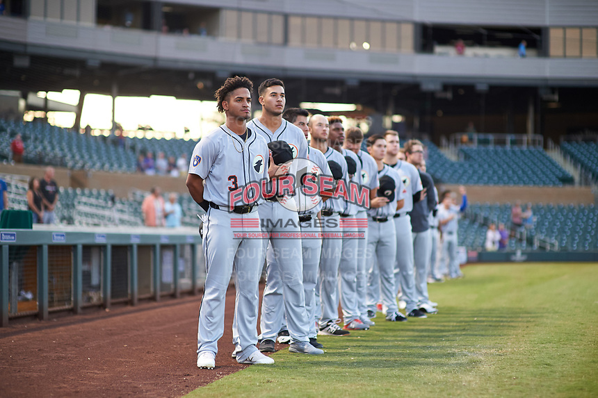 Glendale Desert Dogs Pablo Abreu (3), of the Milwaukee Brewers organization, during the National Anthem before an Arizona Fall League game against the Scottsdale Scorpions on September 20, 2019 at Salt River Fields at Talking Stick in Scottsdale, Arizona. Scottsdale defeated Glendale 3-2. (Zachary Lucy/Four Seam Images)