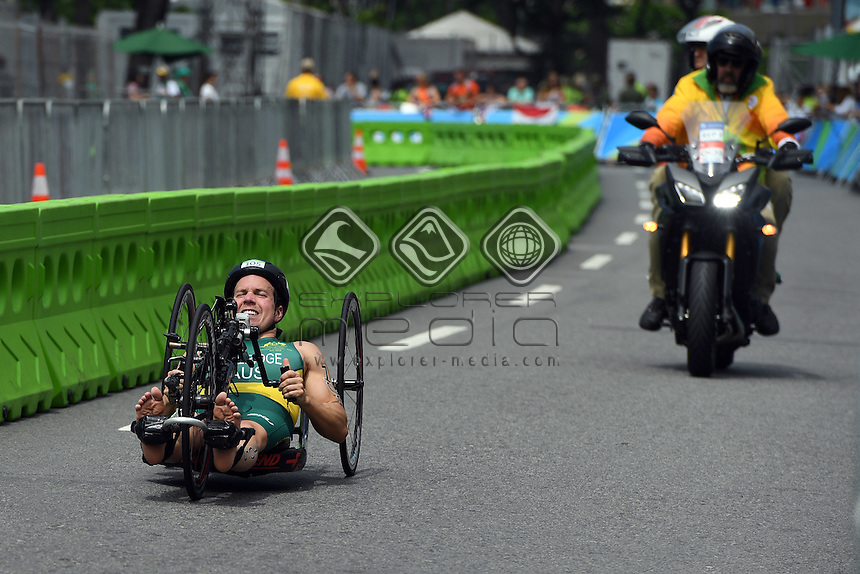 Nic Beveridge  (AUS) PT1 Class<br /> Olympic Stadium / Day 3  Para-Triathlon<br /> 2016 Paralympic Games - RIO Brazil<br /> Australian Paralympic Committee<br /> Rio Brazil  Saturday 10 September 2016<br /> &copy; Sport the library / Jeff Crow