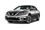 Stock pictures of low aggressive front three quarter view of 2017 Nissan Sentra SR 4 Door Sedan Low Aggressive