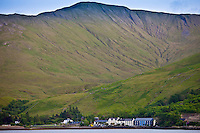 Village of Leenane,  Killary harbour and Mweelrea mountain in Connemara, County Galway, Ireland