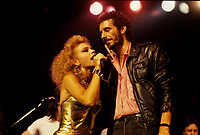 Martine Saint Clair and  Jean-Marc Pisapia, singer The Box in concert / en spectacle<br /> Circa 1987- Montreal<br /> Photo : (c) by Pierre Roussel / Images Distribution