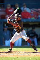 Bethune-Cookman Wildcats second baseman Jameel Edney (8) at bat during a game against the Wisconsin-Milwaukee Panthers on February 26, 2016 at Chain of Lakes Stadium in Winter Haven, Florida.  Wisconsin-Milwaukee defeated Bethune-Cookman 11-0.  (Mike Janes/Four Seam Images)