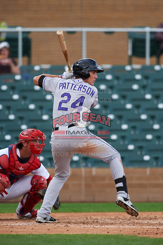 Salt River Rafters outfielder Jordan Patterson (24) at bat during an Arizona Fall League game against the Surprise Saguaros on October 20, 2015 at Salt River Fields at Talking Stick in Scottsdale, Arizona.  Surprise defeated Salt River 3-1.  (Mike Janes/Four Seam Images)