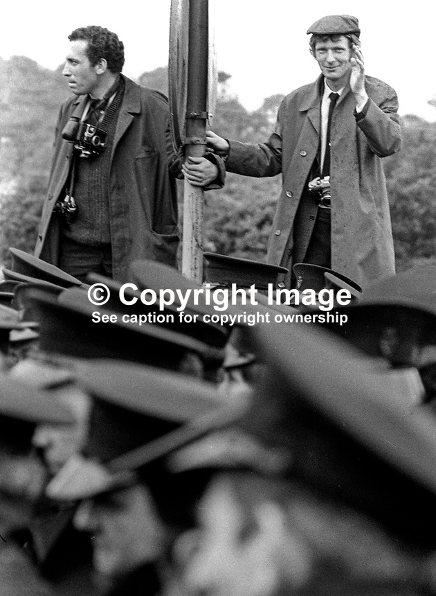 Unknown photographer, left, and Trevor Dickson, photographer, Belfast Newsletter covering Orangemen's attempt to parade through Dungiven, Co Londonderry, despite a N Ireland Government ban on them doing so. 13th June 1971. 197106130220TD<br /> <br /> <br /> 197106130220TD<br /> <br /> Copyright Image from Victor Patterson, 54 Dorchester Park, Belfast, UK, BT9 6RJ<br /> <br /> Tel: +44 28 9066 1296<br /> Mob: +44 7802 353836<br /> Voicemail +44 20 8816 7153<br /> Email: victorpatterson@me.com<br /> Email: victorpatterson@gmail.com<br /> <br /> IMPORTANT: My Terms and Conditions of Business are at www.victorpatterson.com
