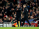 Liverpool's Jurgen Klopp claims for a push during the premier league match at the Emirates Stadium, London. Picture date 22nd December 2017. Picture credit should read: David Klein/Sportimage