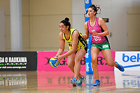 Central Manawa&rsquo;s Api Taufa in action during the Beko Netball League - Central Manawa v Southern Blast at ASB Sports Centre, Wellington, New Zealand on Sunday 12 May 2019. <br /> Photo by Masanori Udagawa. <br /> www.photowellington.photoshelter.com