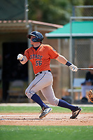 GCL Astros Tyler Krabbe (56) bats during a Gulf Coast League game against the GCL Marlins on August 8, 2019 at the Roger Dean Chevrolet Stadium Complex in Jupiter, Florida.  GCL Marlins defeated GCL Astros 5-4.  (Mike Janes/Four Seam Images)