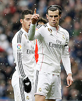 Real Madrid's James Rodriguez and Garet Bale (r) during La Liga match.January 31,2015. (ALTERPHOTOS/Acero) /NortePhoto<br />