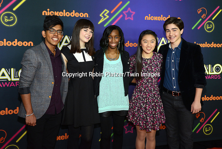 Halo honorees, Yash Gupta, Lulu Cerone, Alanna Wall, Cassandra Lin and Nicholas Lowinger attend the 6th Annual Nickelodeon Halo Awards on November 15, 2014 at Pier 36 in New York City. <br /> <br /> photo by Robin Platzer/Twin Images<br />  <br /> phone number 212-935-0770