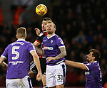 Enda Stevens of Sheffield Utd gets a head to the ball past David Wheater of Bolton Wanderers during the Championship match at Bramall Lane Stadium, Sheffield. Picture date 30th December 2017. Picture credit should read: Simon Bellis/Sportimage