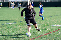 Allston, MA - Sunday, April 24, 2016: Seattle Reign FC head coach Laura Harvey during warmups. The Boston Breakers play Seattle Reign during a regular season NSWL match at Harvard University.