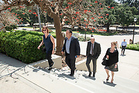 "Walk across campus from the Cushman Board Room to Choi Auditorium.<br /> Tal Becker, one of Israel's top peace negotiators and senior fellow at the Shalom Hartman Institute in Jerusalem, spoke on April 24, 2018 as Occidental College's 2018 Jack Kemp '57 Distinguished Lecturer. Becker spoke about ""The Israeli-Palestinian Conflict in Jewish Discourse: Identity, Justice and Religion"" in Choi Auditorium.<br /> (Photo by Marc Campos, Occidental College Photographer)"