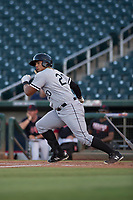 AZL White Sox first baseman Harvin Mendoza (20) starts down the first base line during an Arizona League game against the AZL Indians 1 at Goodyear Ballpark on June 20, 2018 in Goodyear, Arizona. AZL Indians 1 defeated AZL White Sox 8-7. (Zachary Lucy/Four Seam Images)