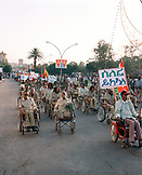 ERITREA, Asmara, Eritrean war veterans march during the Independence Day Celebrations, Liberation Avenue
