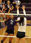 SIOUX FALLS, SD - SEPTEMBER 19:  Lexi Scott #11 from the University of Sioux Falls tips the ball past Ivy Pearson #16 from Augustana during their match Saturday afternoon at the Stewart Center. (Photo by Dave Eggen/Inertia)