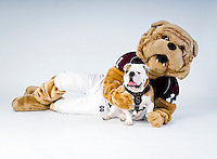 Costumed Bully and Champ in the studio (photo by Russ Houston / © Mississippi State University)