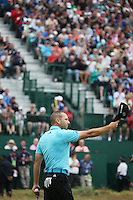 20.07.2014. Hoylake, England.   Sergio Garcia of Spain thanks the fans on the 18th hole during the final round of the 143rd British Open Championship at Royal Liverpool Golf Club in Hoylake, England.