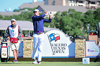 Smylie Kaufman (USA) watches his tee shot on 11 during round 4 of the Valero Texas Open, AT&amp;T Oaks Course, TPC San Antonio, San Antonio, Texas, USA. 4/23/2017.<br /> Picture: Golffile | Ken Murray<br /> <br /> <br /> All photo usage must carry mandatory copyright credit (&copy; Golffile | Ken Murray)