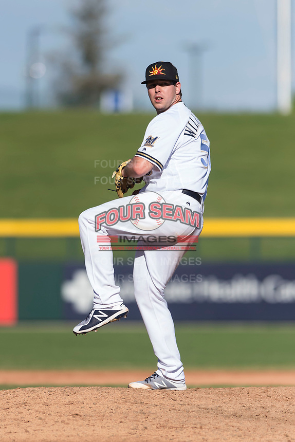 Mesa Solar Sox relief pitcher Aaron Wilkerson (56), of the Milwaukee Brewers organization, delivers a pitch during an Arizona Fall League game against the Salt River Rafters at Sloan Park on October 30, 2018 in Mesa, Arizona. Salt River defeated Mesa 14-4 . (Zachary Lucy/Four Seam Images)