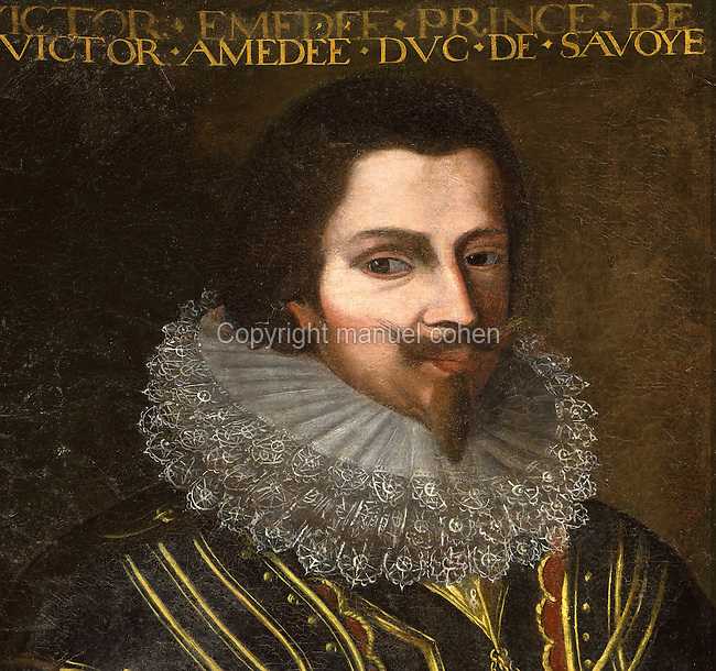 Portrait of Victor Amedeus I, Duke of Savoy, 1587-1637, in the Galerie des Illustres or Gallery of Portraits, early 17th century, in the Chateau de Beauregard, a Renaissance chateau in the Loire Valley, built c. 1545 under Jean du Thiers and further developed after 1617 by Paul Ardier, Comptroller of Wars and Treasurer, in Cellettes, Loir-et-Cher, Centre, France. The Gallery of Portraits is a 26m long room with lapis lazuli ceiling, Delftware tiled floor and decorated with 327 portraits of important European figures living 1328-1643, in the times of Henri III, Henri IV and Louis XIII. The chateau is listed as a historic monument. Picture by Manuel Cohen