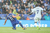 9th September 2017, King Power Stadium, Leicester, England; EPL Premier League Football, Leicester City versus Chelsea; Marc Albrighton of Leicester City lunges to get is toe on the ball and take it out of the path of Ngolo Kanté of Chelsea