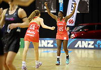 30.08.2017 England's Kadeen Corbin celebrates during the Quad Series netball match between the Silver Ferns and England at the Trusts Arena in Auckland. Mandatory Photo Credit ©Michael Bradley.