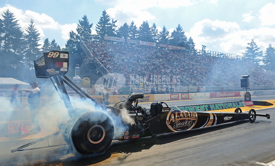 Aug. 7, 2011; Kent, WA, USA; NHRA top fuel dragster driver Del Worsham during the Northwest Nationals at Pacific Raceways. Mandatory Credit: Mark J. Rebilas-
