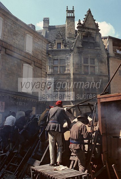 """Europe/France/Aquitaine/24/Dordogne/Vallée de la Dordogne/Périgord/Périgord noir/Sarlat-la-Canéda: Tournages du film """"Les misérables"""""""