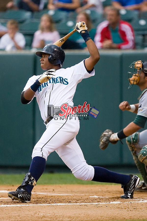 Mario Martinez (57) of the Pulaski Mariners at bat at Calfee Field in Pulaski, VA, Sunday July 6, 2008. (Photo by Brian Westerholt / Four Seam Images)