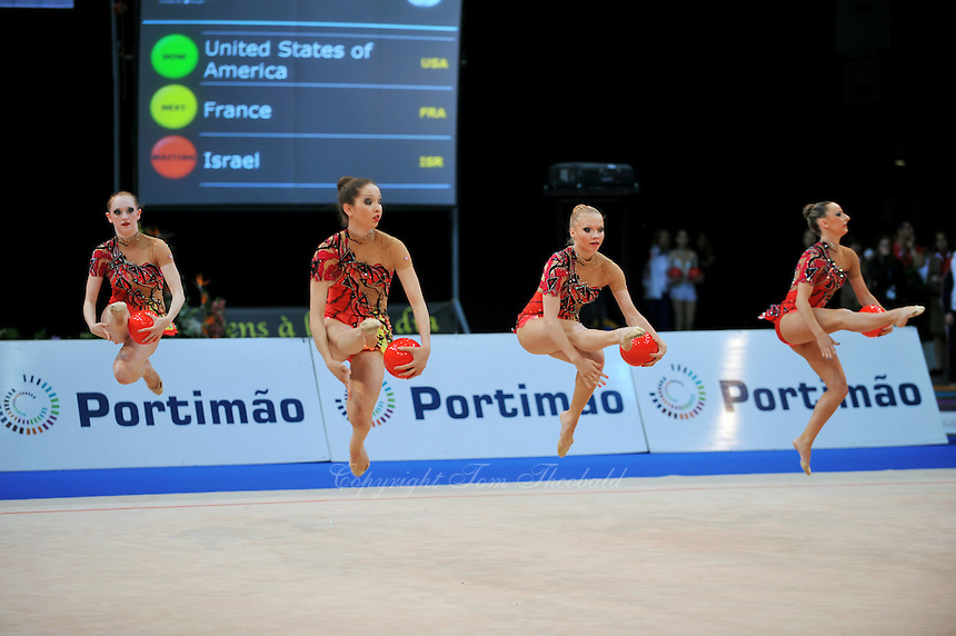 USA senior group performs routine at 2011 World Cup at Portimao, Portugal on April 28, 2011.