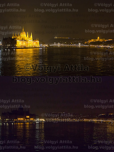 Combination photo of the Hungarian capitol city with the Parliament (L), Chain Bridge (C) and the Royal Castle (R) during the Earth Hour before (above) and after (below) the lights went off in Budapest, Hungary on March 23, 2013. ATTILA VOLGYI