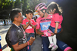 Maglia Rosa Richard Carapaz (ECU) Movistar Team with his family at the end of Stage 20 of the 2019 Giro d'Italia, running 194km from Feltre to Croce d'Aune-Monte Avena, Italy. 1st June 2019<br /> Picture: Massimo Paolone/LaPresse | Cyclefile<br /> <br /> All photos usage must carry mandatory copyright credit (© Cyclefile | Massimo Paolone/LaPresse)