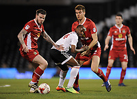 Blackburn Rovers' Danny Guthrie holds off the challenge from Fulham's Sone Aluko<br /> <br /> Photographer /Ashley WesternCameraSport<br /> <br /> The EFL Sky Bet Championship - Fulham v Blackburn Rovers - Tuesday 14th March 2017 - Craven Cottage - London<br /> <br /> World Copyright &copy; 2017 CameraSport. All rights reserved. 43 Linden Ave. Countesthorpe. Leicester. England. LE8 5PG - Tel: +44 (0) 116 277 4147 - admin@camerasport.com - www.camerasport.com