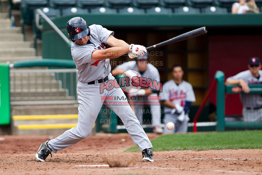 Adam Younger (8) of the Arkansas Travelers hits a ground ball during a game against the Springfield Cardinals on May 10, 2011 at Hammons Field in Springfield, Missouri.  Photo By David Welker/Four Seam Images.