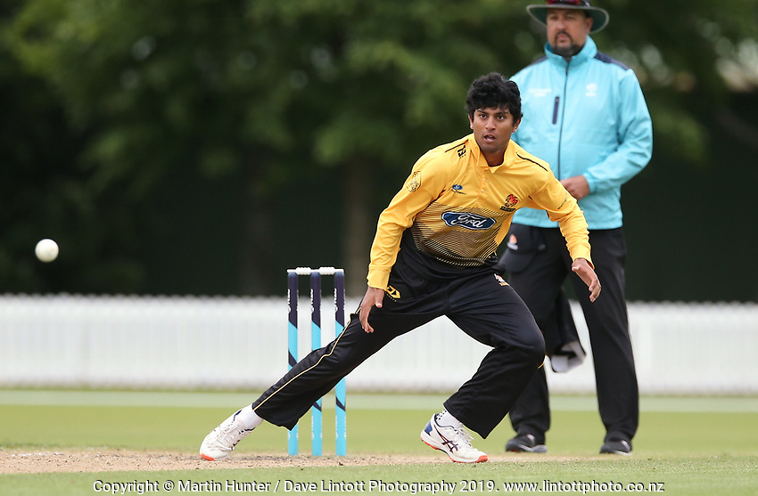 Wellington's Rachin Ravendra bowls during the Wellington Firebirds v Otago Volts, Ford Trophy One Day match round five at Bert Sutcliffe Oval in Lincoln, New Zealand on Friday, 29 November 2019. Photo: Martin Hunter / lintottphoto.co.nz