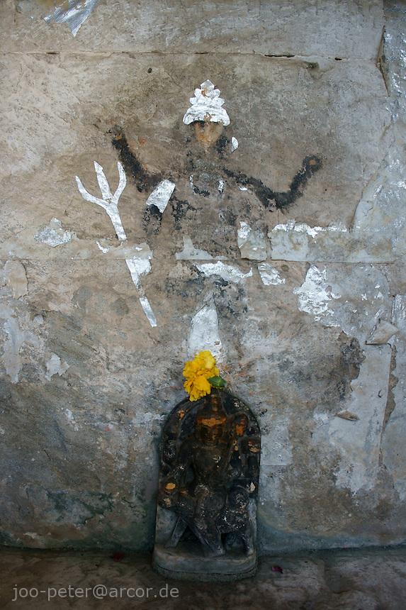 shiva shrine inisde Shiva temple  in village below Fort Amber near Jaipur, Rajastan, India