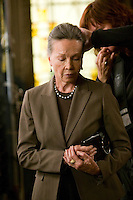 "8 May 2006 - North Bergen, NJ - French actress Leslie Caron (L) gets her hair retouched on the studio set of television show ""Law & Order: SVU"" in North Bergen, USA, 8 May 2006. In this rare appearance in front of American television cameras, Caron, 74, plays a French victim of past sexual molestation in an episode entitled ""Recall"" due to air in the fall. Caron starred in Hollywood classics such as ""An American in Paris"" (1951), ""Lili"" (1953), ""Gigi"" (1958). More recently she appeared in ""Chocolat"" (2000) and ""Le Divorce"" (2003). Photo Credit: David Brabyn"