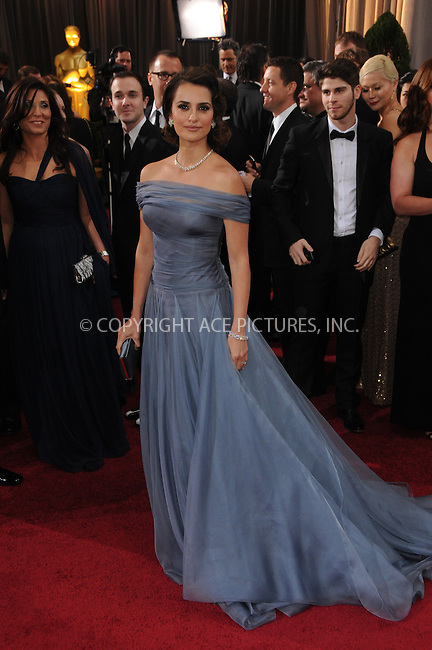WWW.ACEPIXS.COM . . . . .  ....February 26 2012, LA....Actress Penelope Cruz arriving at the 84th Annual Academy Awards at the Hollywood & Highland Center on February 26, 2012 in Hollywood, California....Please byline: PETER WEST - ACE PICTURES.... *** ***..Ace Pictures, Inc:  ..Philip Vaughan (212) 243-8787 or (646) 769 0430..e-mail: info@acepixs.com..web: http://www.acepixs.com