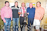 Pictured at the prizegiving for the 28th annual Paddy Kenmare Fishing Competition, which was held on Lough Léin,  in The Killarney Avenue Hotel on Saturday night were Denis McCarthy, Frank O'Sullivan Jnr, Pat O'Callaghan, winner, Frank O'Sullivan snr and John O'Callaghan.