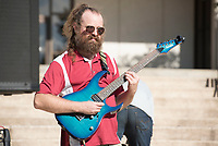 NWA Democrat-Gazette/J.T. WAMPLER Matt Smith plays with the Fayetteville band Funk Factory, Thursday Sept. 6, 2018 in front of the Student Union at the University of Arkansas to kickoff of Celebrating Inclusion and Diversity.<br />