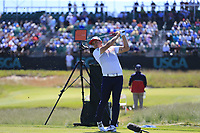 Rickie Fowler (USA) tees the 17th tee during Thursday's Round 1 of the 118th U.S. Open Championship 2018, held at Shinnecock Hills Club, Southampton, New Jersey, USA. 14th June 2018.<br /> Picture: Eoin Clarke | Golffile<br /> <br /> <br /> All photos usage must carry mandatory copyright credit (&copy; Golffile | Eoin Clarke)