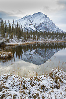 Mount Dillon of the Brooks Range reflects in a small tundra pond, Arctic, Alaska