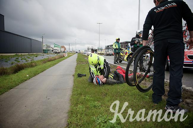 Marco Haller (AUT/Katusha) crashed heavily and had to abandon the race<br /> <br /> 70th Dwars Door Vlaanderen 2015